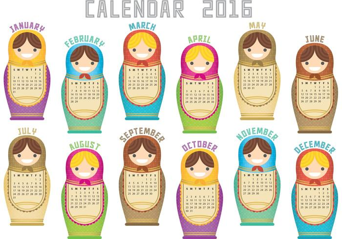 Vecteur calendrier russe 2016
