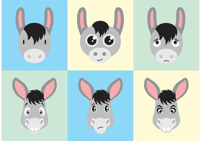 Donkey Cartoon Faces Vector Free
