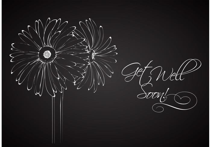 Free Drawn Floral On Blackboard