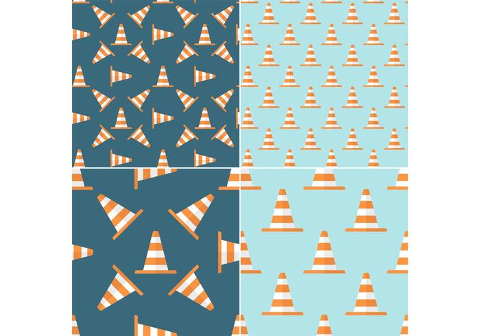 Free Orange Traffic Cone Vector Seamless Patterns