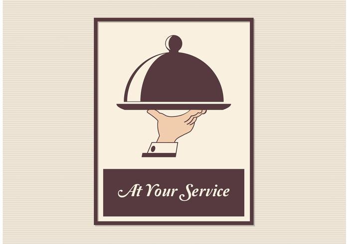 Retro Butler Service Vector Poster
