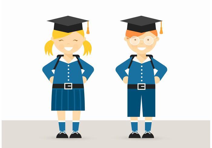 Free School Children In Uniform Vector