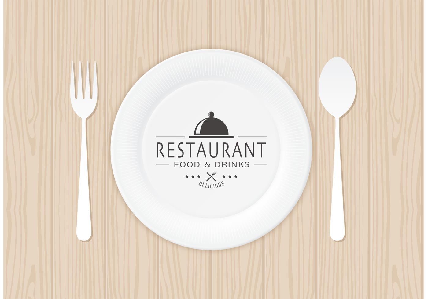 Free restaurant logo on paper plate vector download