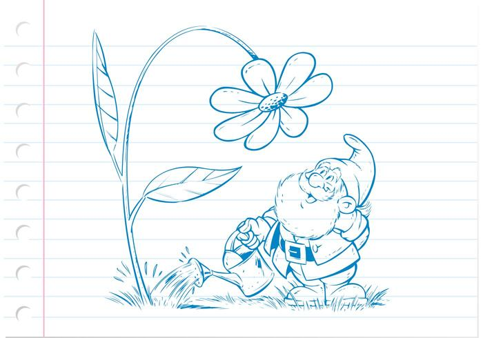 free drawn gnome vector illustration cute vector gnome with flower ...
