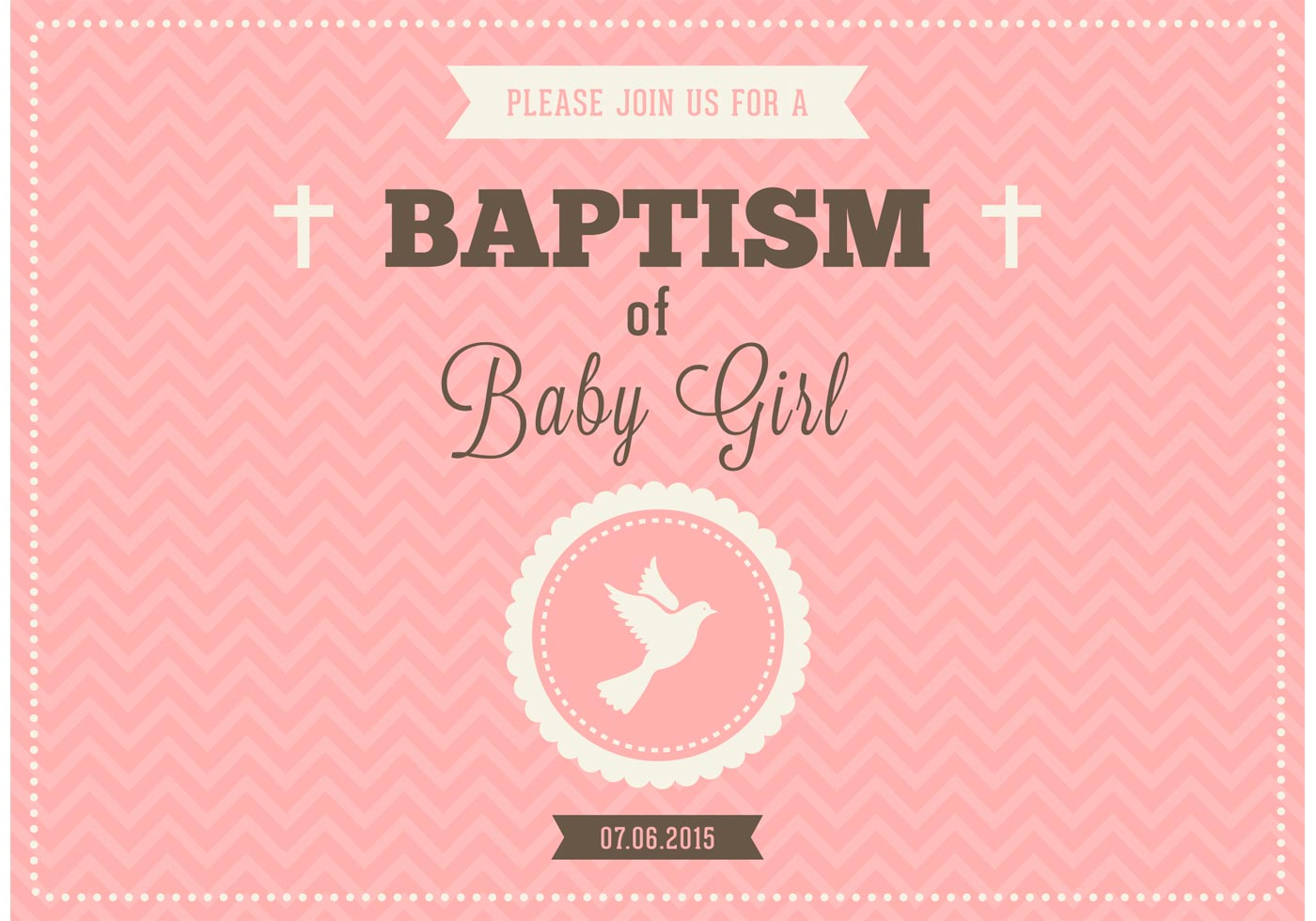 Baby Girl Baptism Vector Invitation - Download Free Vector ...