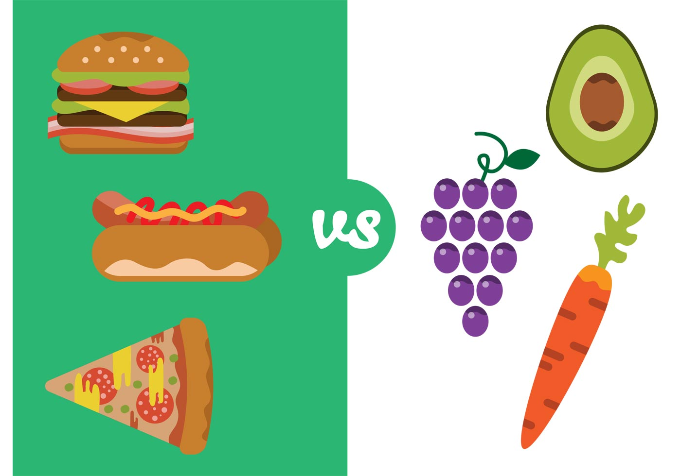 Healthy Food Versus Bad Food Vector - Download Free Vector
