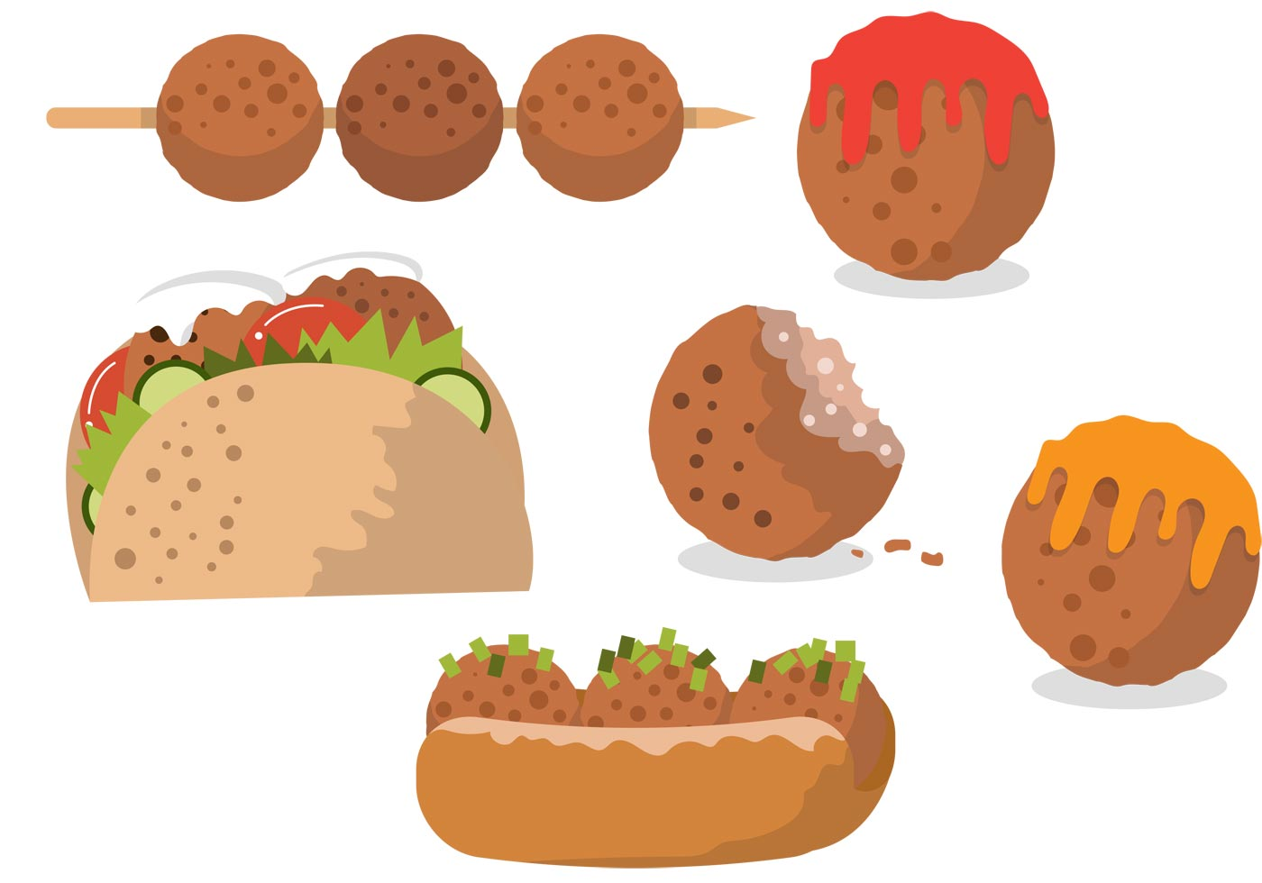 delicious meatball meals download free vector art stock