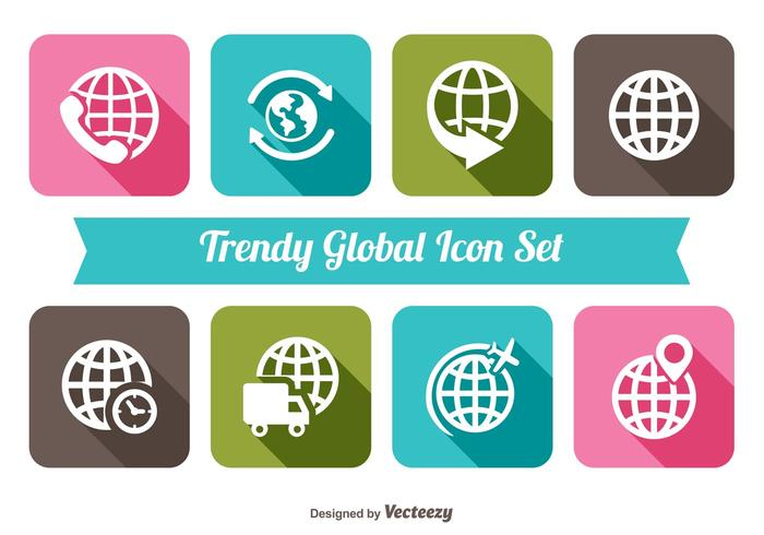 Trendy global icon set
