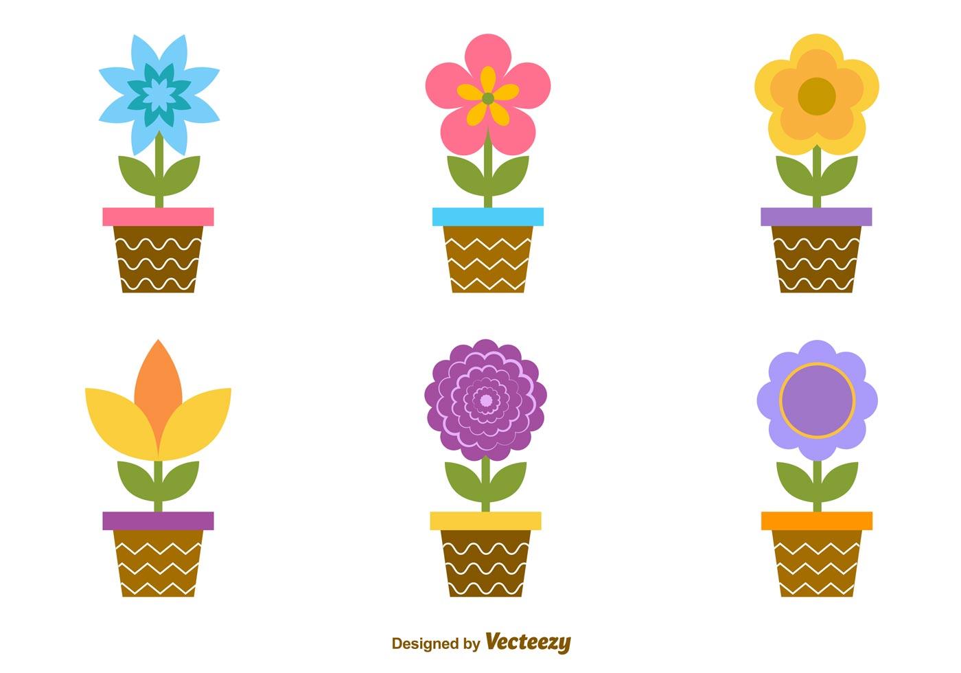 Potes De Flores De Desenho Animado Download Vetores Gratis