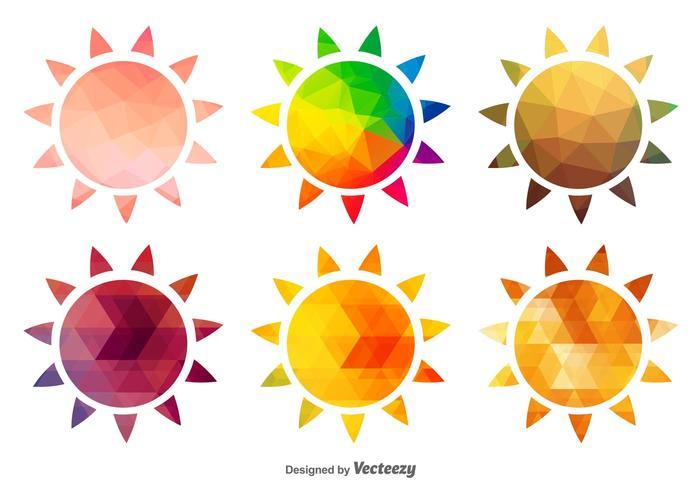 Iconos poligonales del sol caliente vector