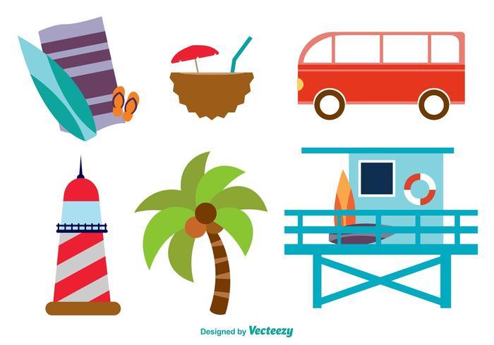 Strand platte pictogrammen