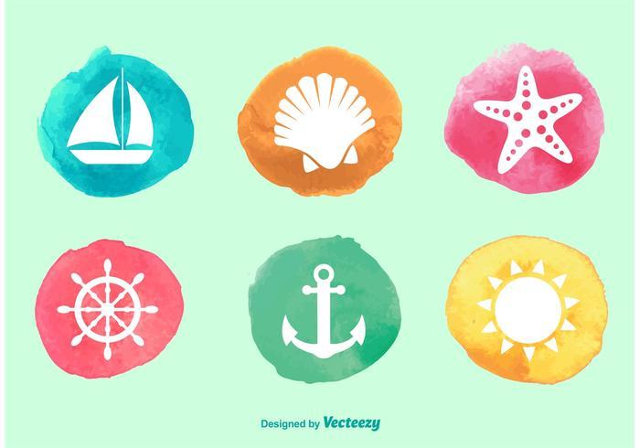 Waterverf oceaan pictogrammen