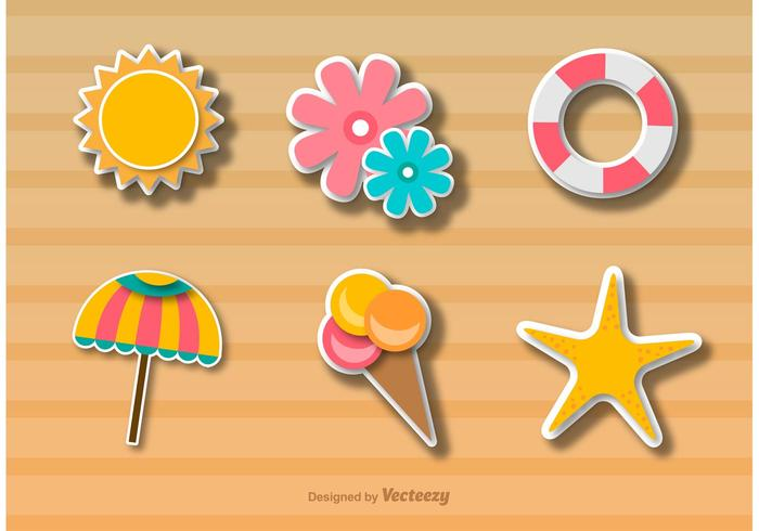 Beach time icons sticker style vector