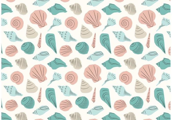 Hand Drawn Seashell Repeat Pattern vector