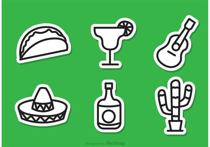 Mexcican Outline Pictogrammen vector