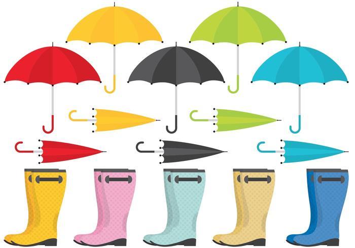 Rain Boots And Umbrella Vectors