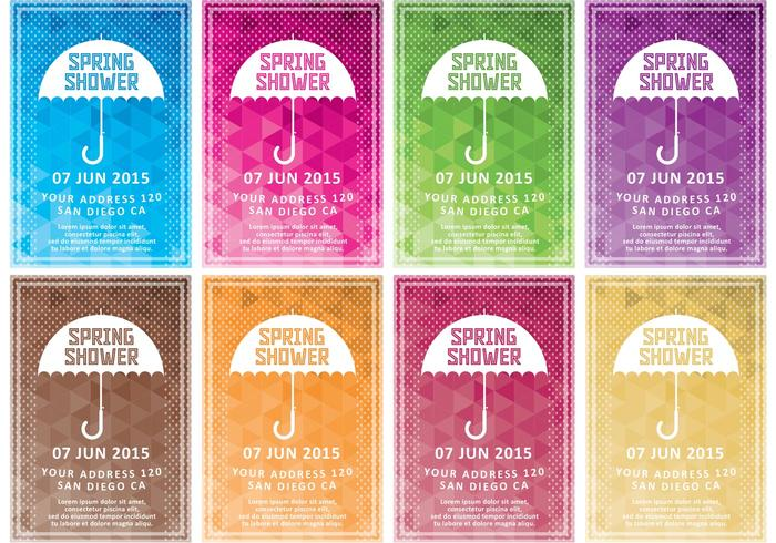 Spring Shower Vector Invitations