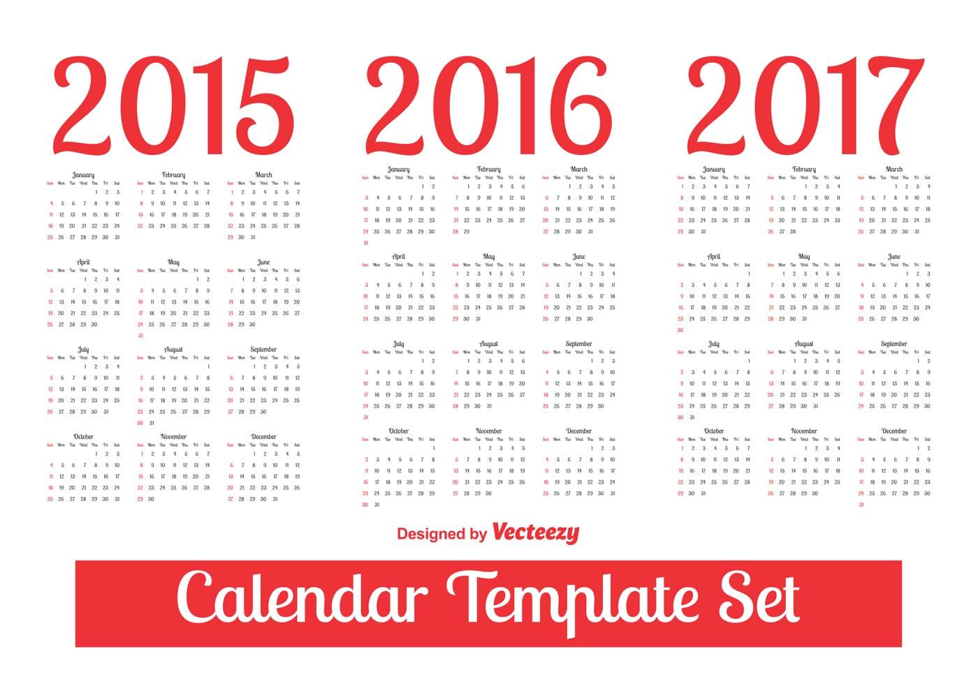 Calendar Template Vector : Calendar template set download free vector art stock