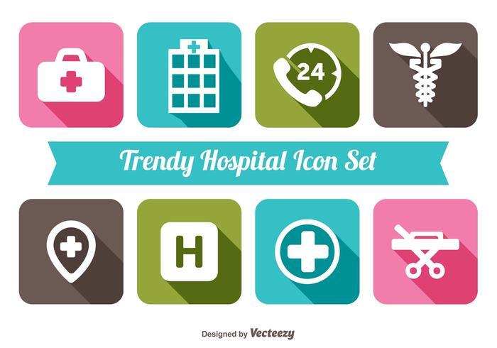 Trendy Hospital Icon Set