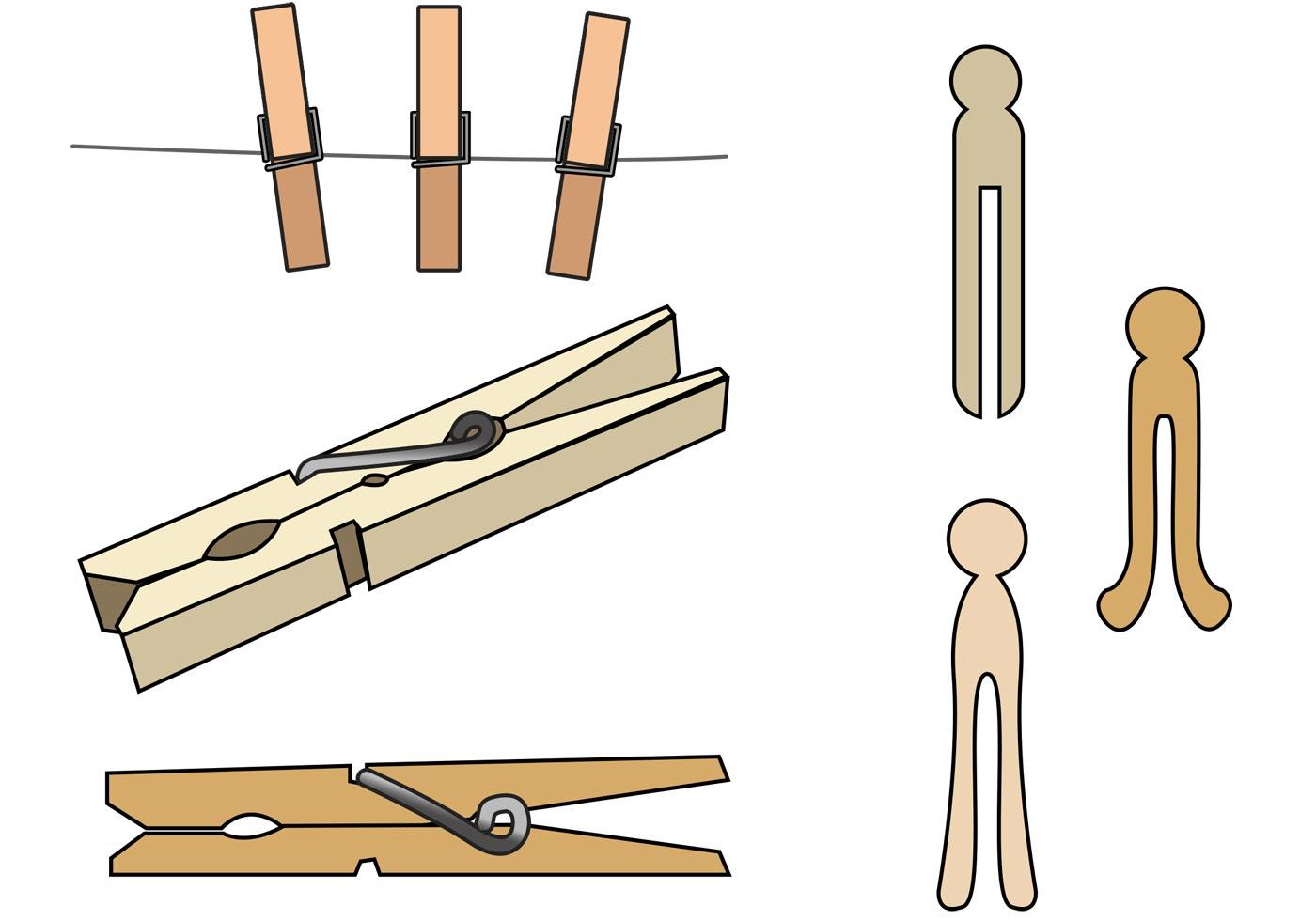 Clothespin Vectors - D... Drying Off Clipart