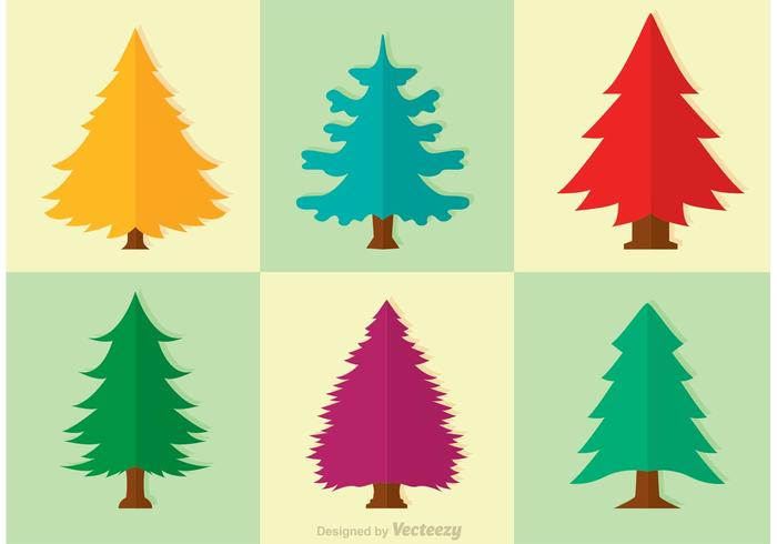 Cedar Träd Vector Set