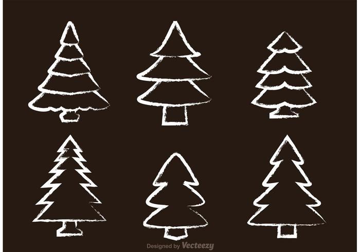 Tiza Dibujado Cedar Tree Vectores