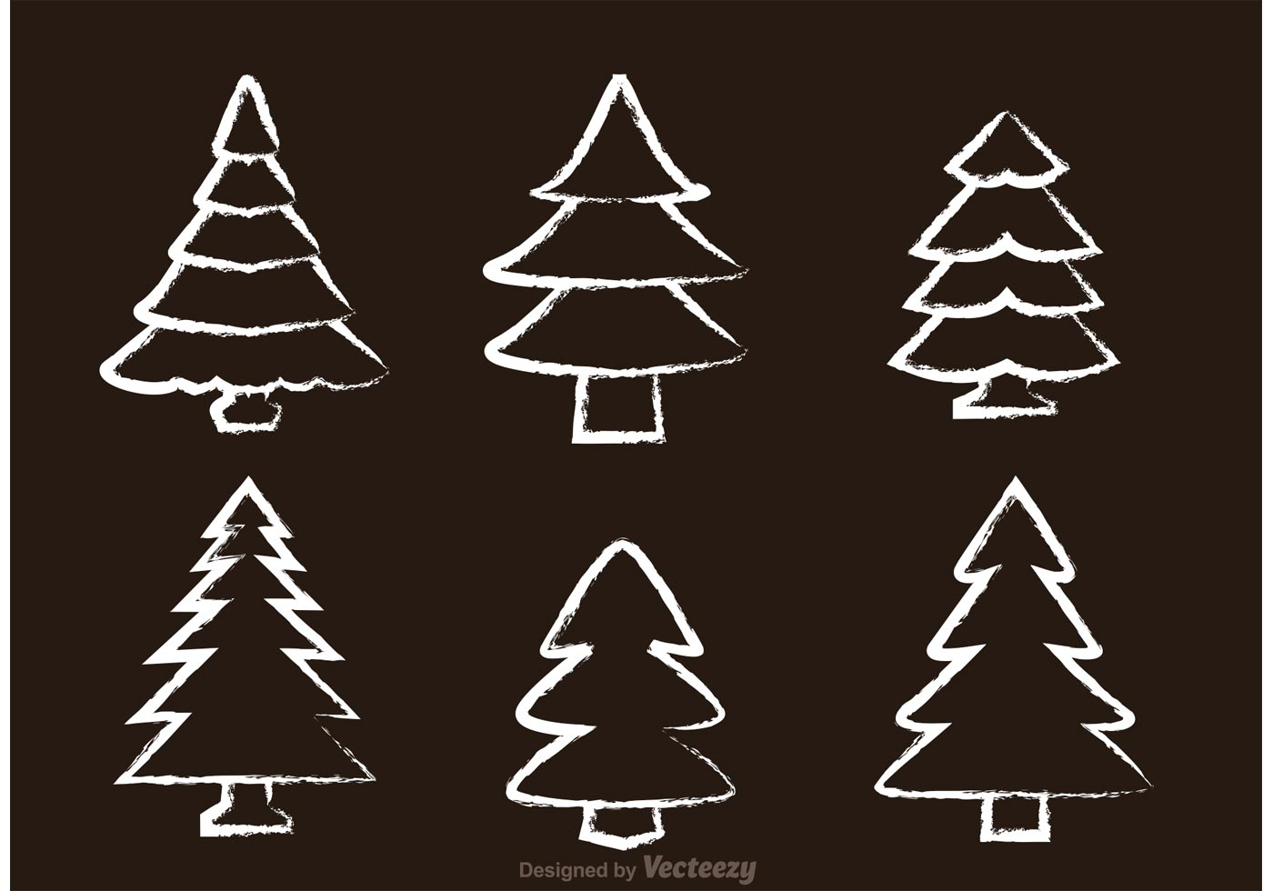 Chalk Drawn Cedar Tree Vectors