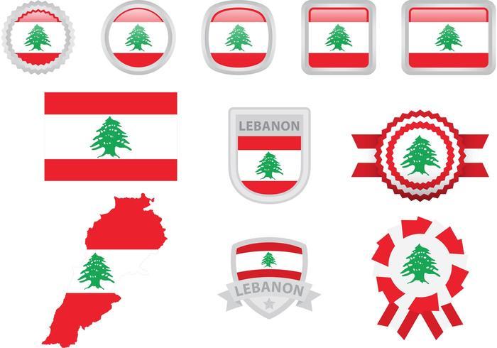 Libanon Vlag Vector Elementen