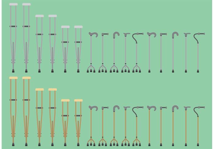 Bastones y muletas vectores