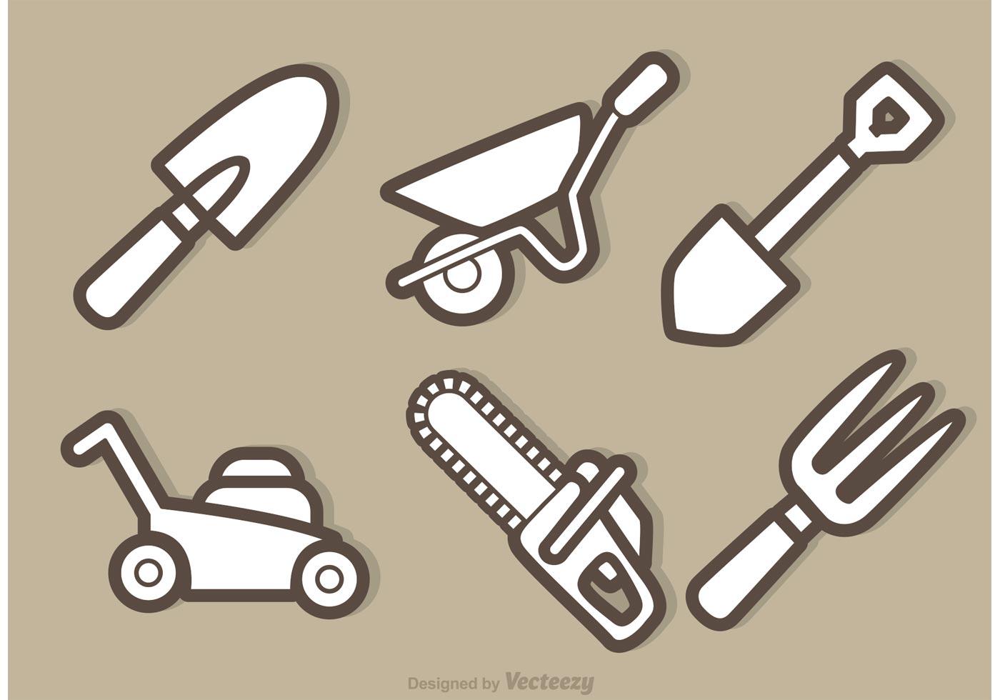Vector garden equipment outline icons download free for Gardening tools vector