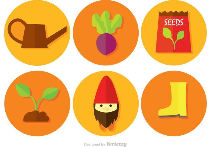 Jardinería circulares iconos vectoriales