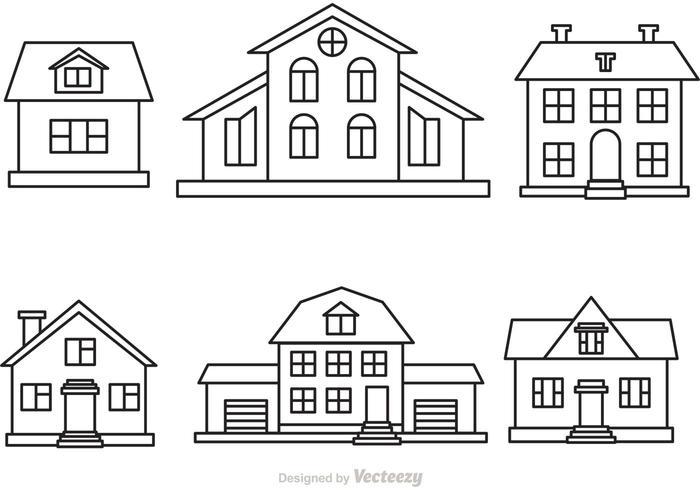 Line Art House Vector : Vector house outline set download free art stock