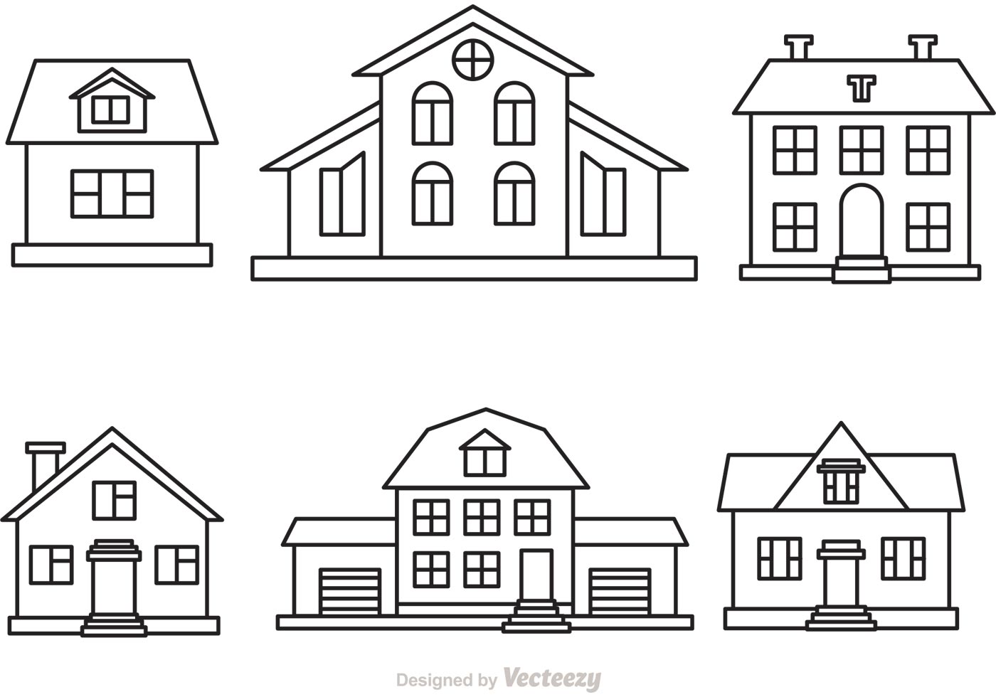 Line Art House Vector : Vector house outline set download free art stock