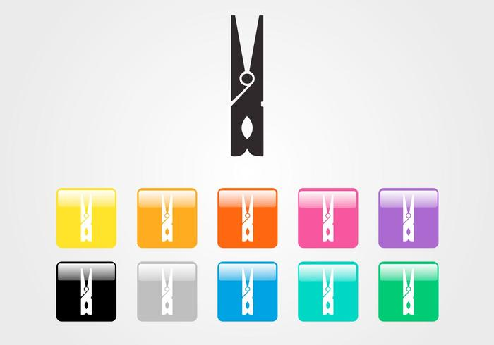 Clothespin Vector Icon Set