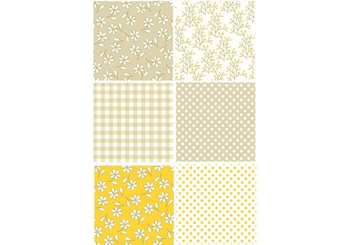 Yellow Retro Pattern Set vector