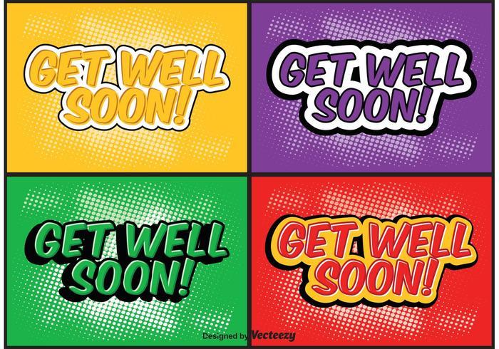 Comic-Stil Get Well Soon Label-Set