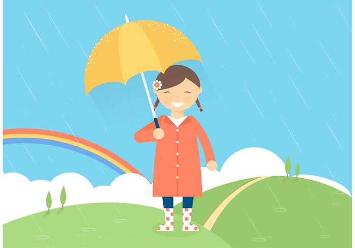 Free Girl In The Rain Vector Illustration
