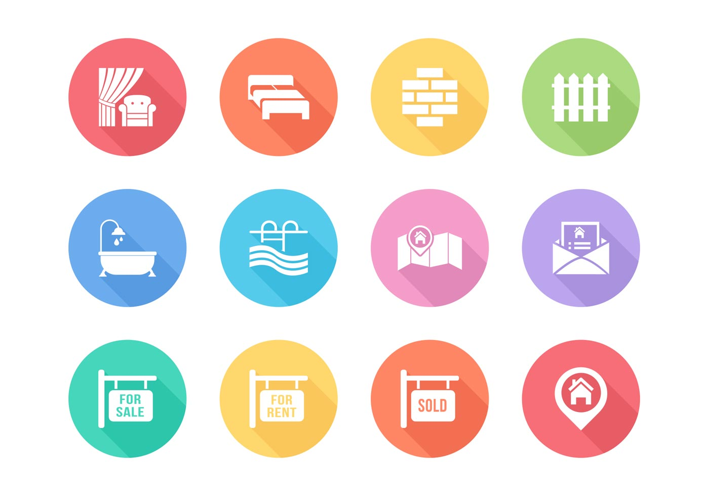 Free Flat Real Estate Vector Icons Download Free Vector