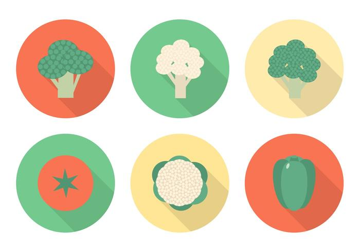 Free Flat Vegetables Vector Icons