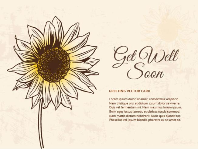 Gratis Drawn Sunflower Vector Illustration