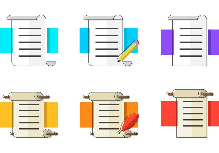 Colorfull Paper Scrolls Vector Icons