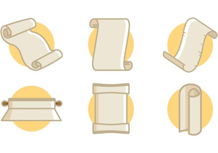 Scrolled Paper Icons Vector Illustrations Free