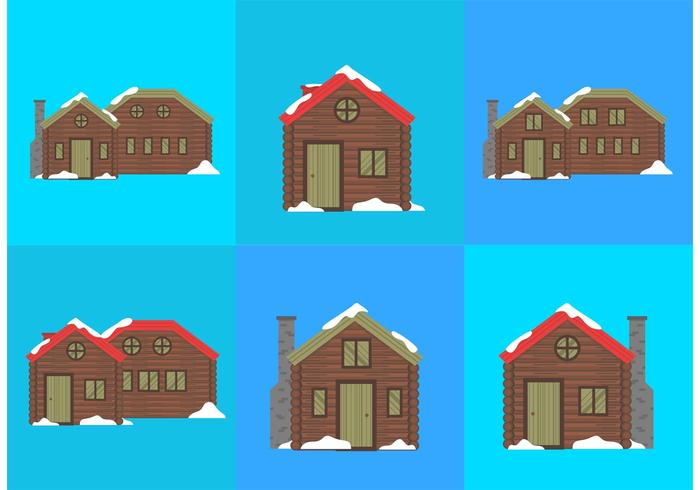 Log Cabin Snow Vectors