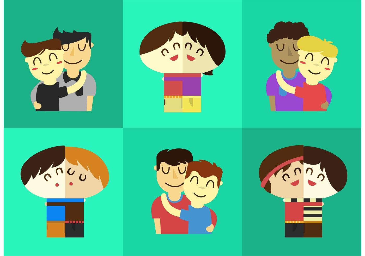 Vector Friends Hugging - Download Free Vector Art, Stock ...