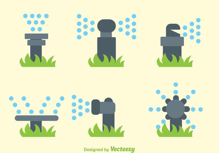 Vectores del sistema de rociadores de agua plana