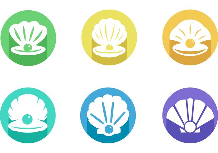 Shells With Pearls Icon Vector Pack