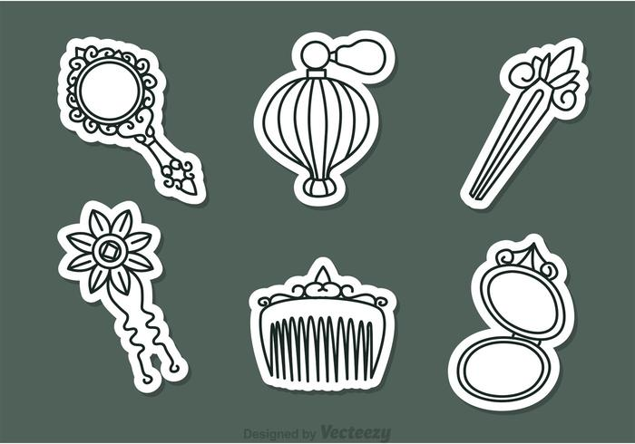 Vector Vintage Woman Accessories Icons