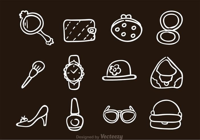 Ícones de acessórios de mão desenhada à mão