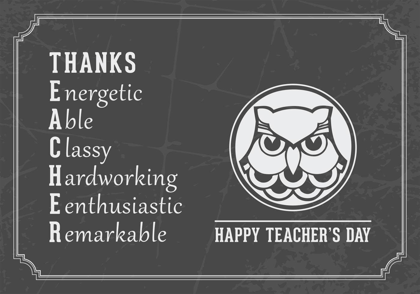 Happy Teachers Day Vector Card Download Free Vector Art Stock