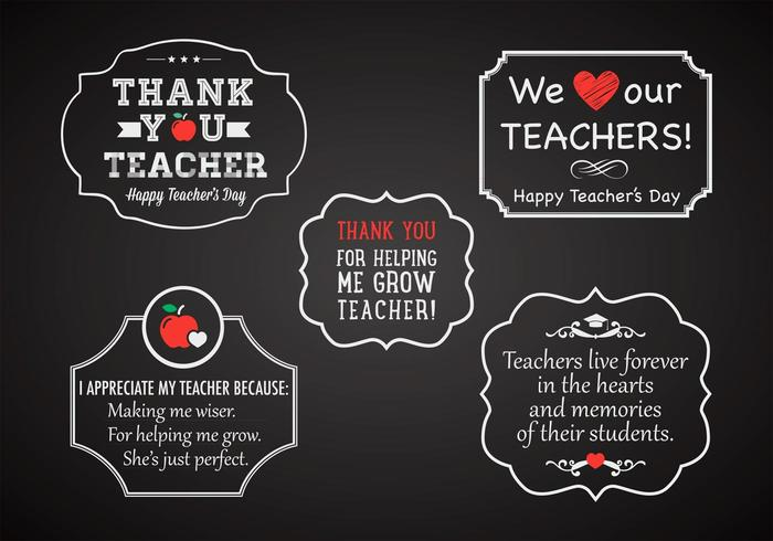 Free Teacher's Day Chalk Labels Vector